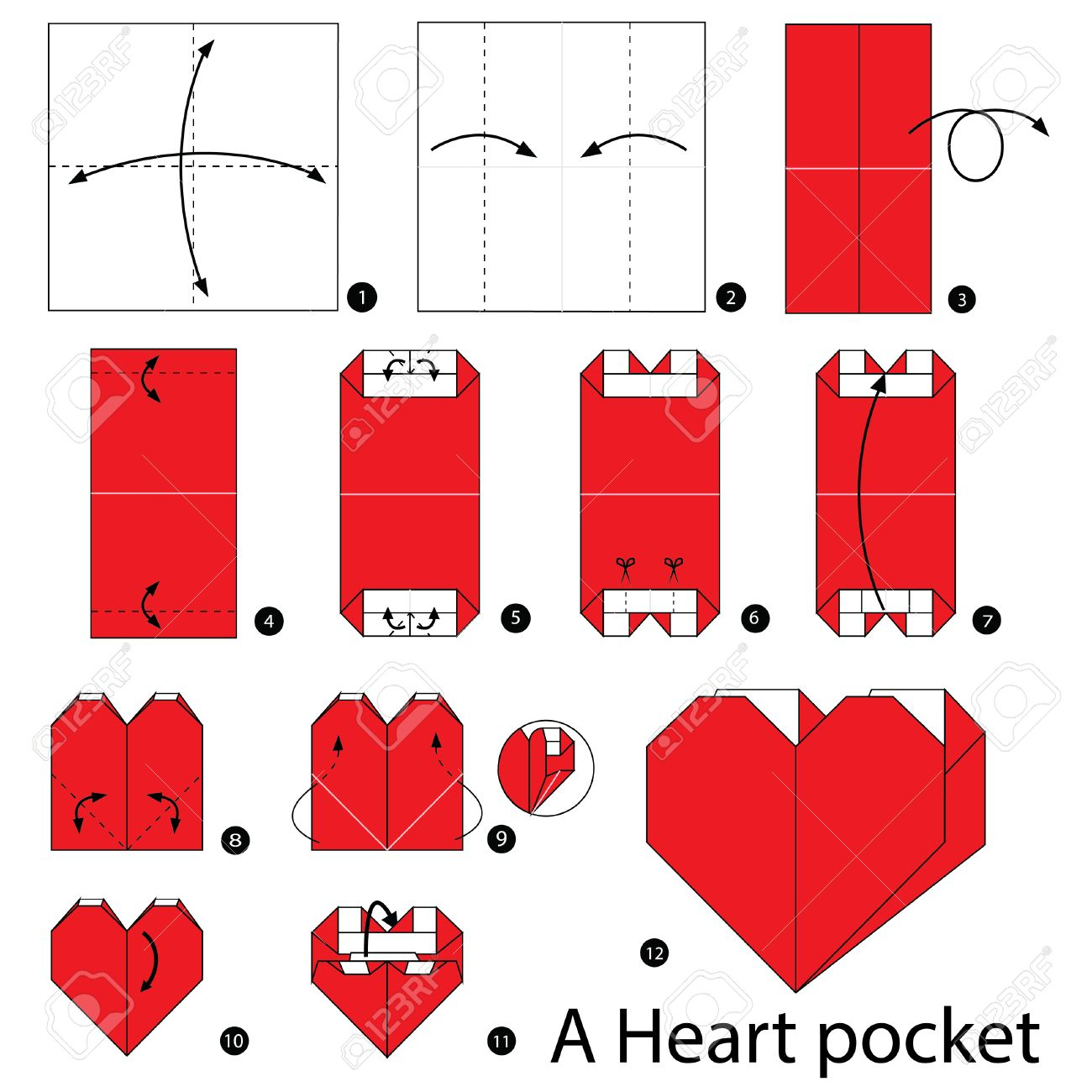 How To Make An Origami Heart Step Step Instructions How To Make Origami Heart Pocket Royalty