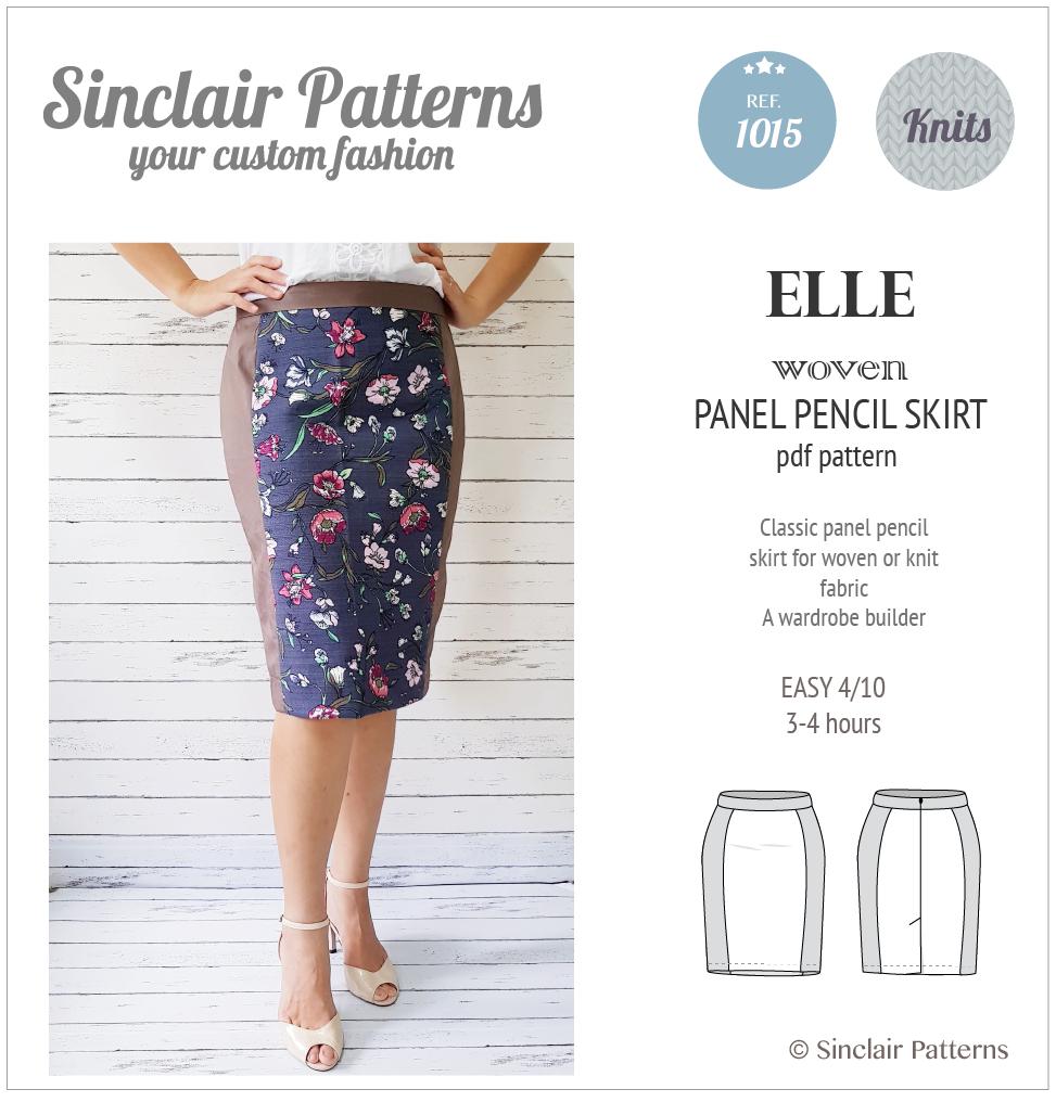 Knit Fabric Patterns Elle Classic Wovenknit Panel Pencil Skirt Pdf Sinclair Patterns