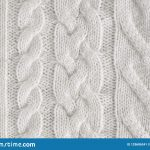Knit Fabric Patterns Texture Background Of White Knitted Fabric With Patterns Stock