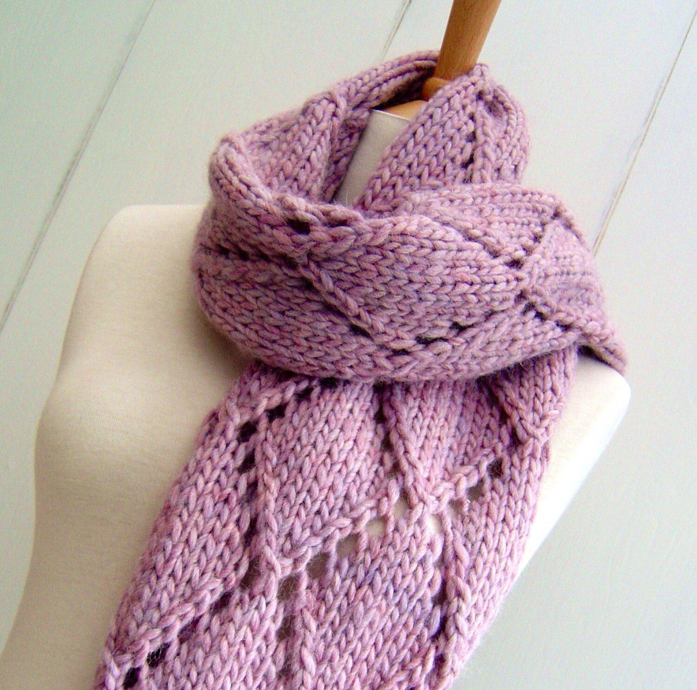 Knitting Patterns Easy Scarf Knitting Pattern For Chunky Scarf Easy Knit Diamond Lattice Etsy