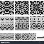 Norwegian Knitting Pattern Hat Set Norwegian Star Knitting Patterns Vector Stock Vector Royalty