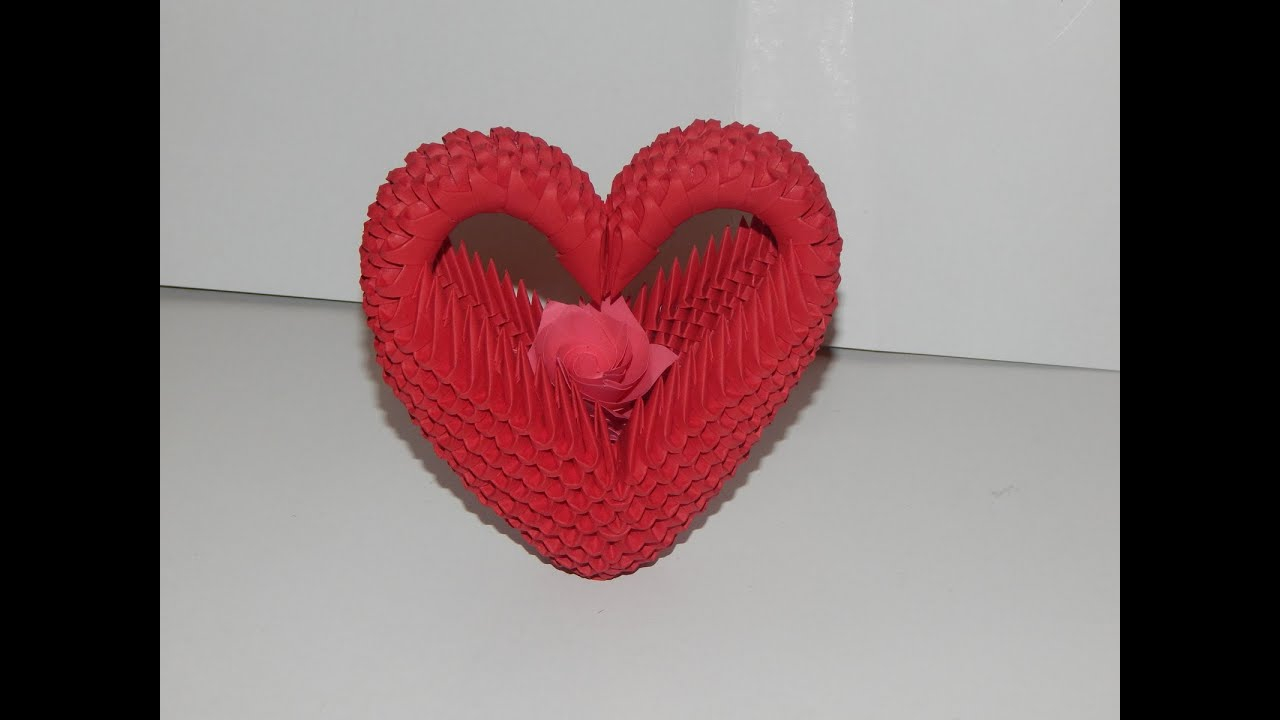 Origami 3d Heart How To Make 3d Origami Heart Model2 Part1 Youtube
