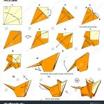 Origami Animals Instructions Origami Animal Rat Mouse Diagram Instructions Stock Illustration