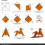 Origami Animals Instructions Origami Animal Traditional Horse Diagram Instructions Stock