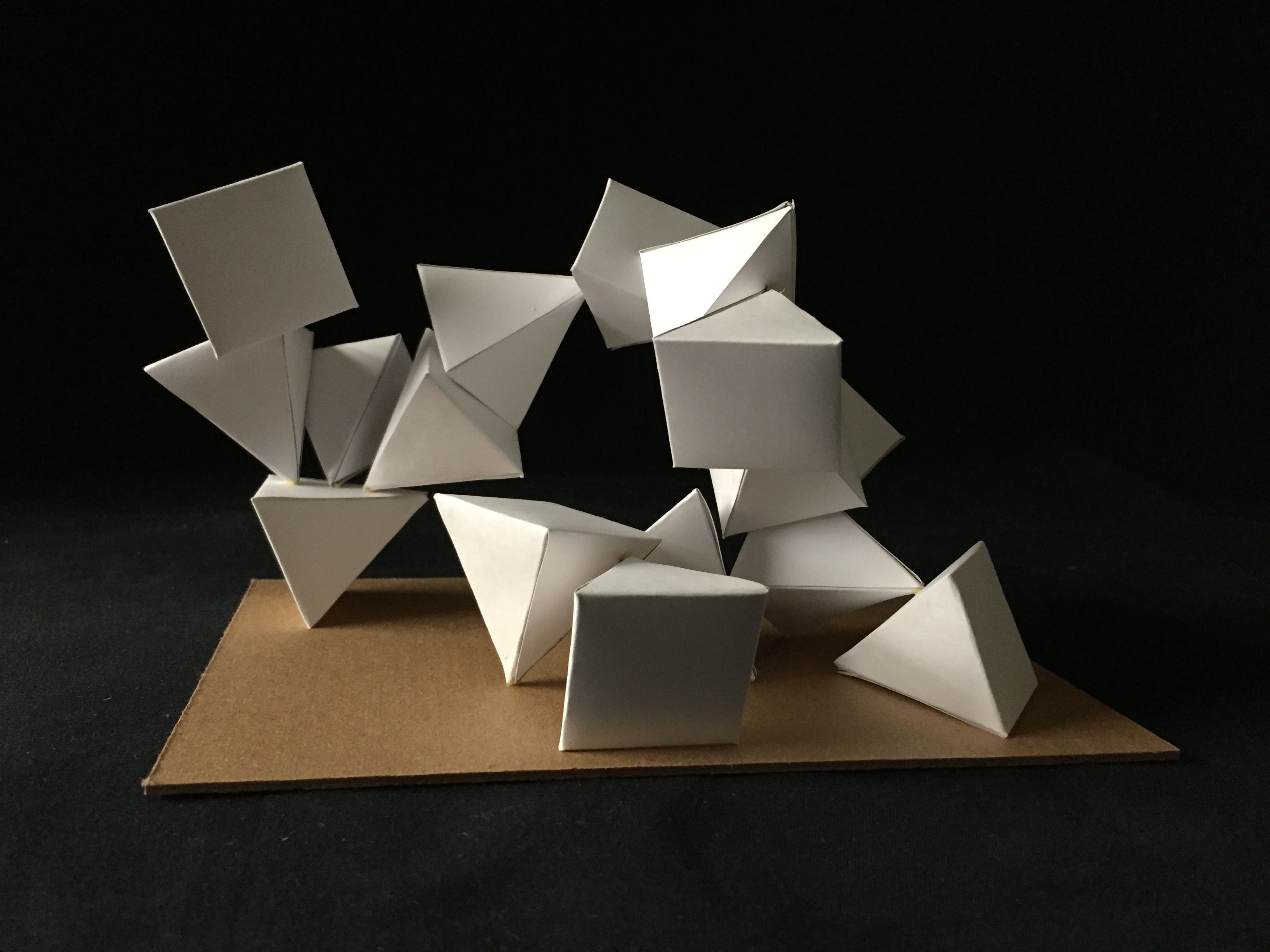 Origami Architecture Design Pyramid Composition Repetition And Movementcard Stock And Wood