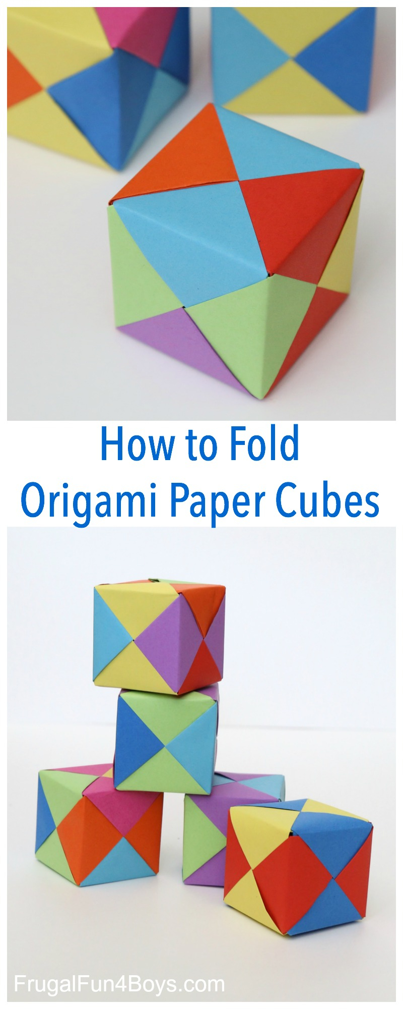 Origami Crafts For Kids How To Fold Origami Paper Cubes Frugal Fun For Boys And Girls