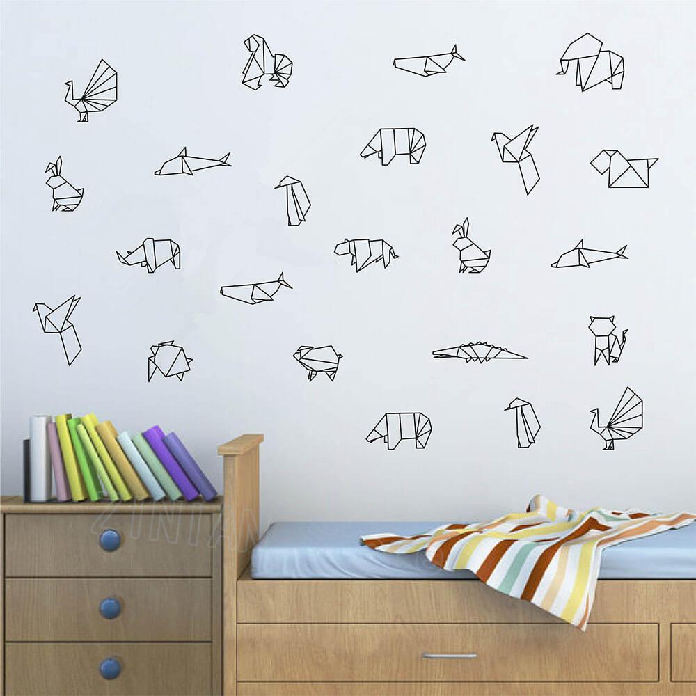 Origami Decoration Bedroom Diy Origami Animals Vinyl Wall Decal Bedroom Geometric Wall Tattoo