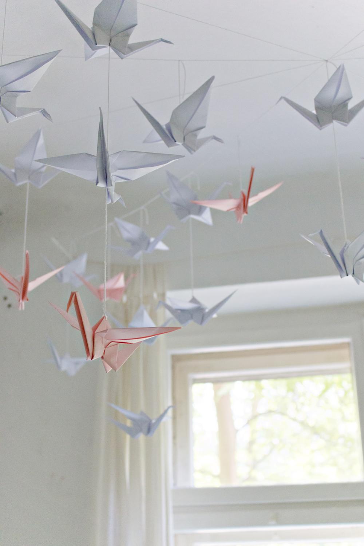Origami Decoration Bedroom Diy Renters Friendly Origami Ceiling Decoration