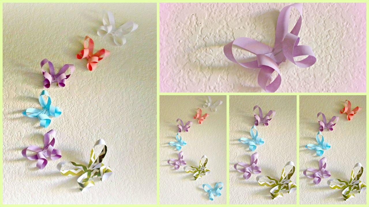 Origami Decoration Bedroom Diy Room Decor 3d Paper Butterflies Youtube