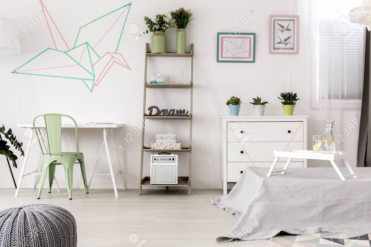 Origami Decoration Bedroom Original Origami Decoration In Bright Bedroom Interior Stock Photo