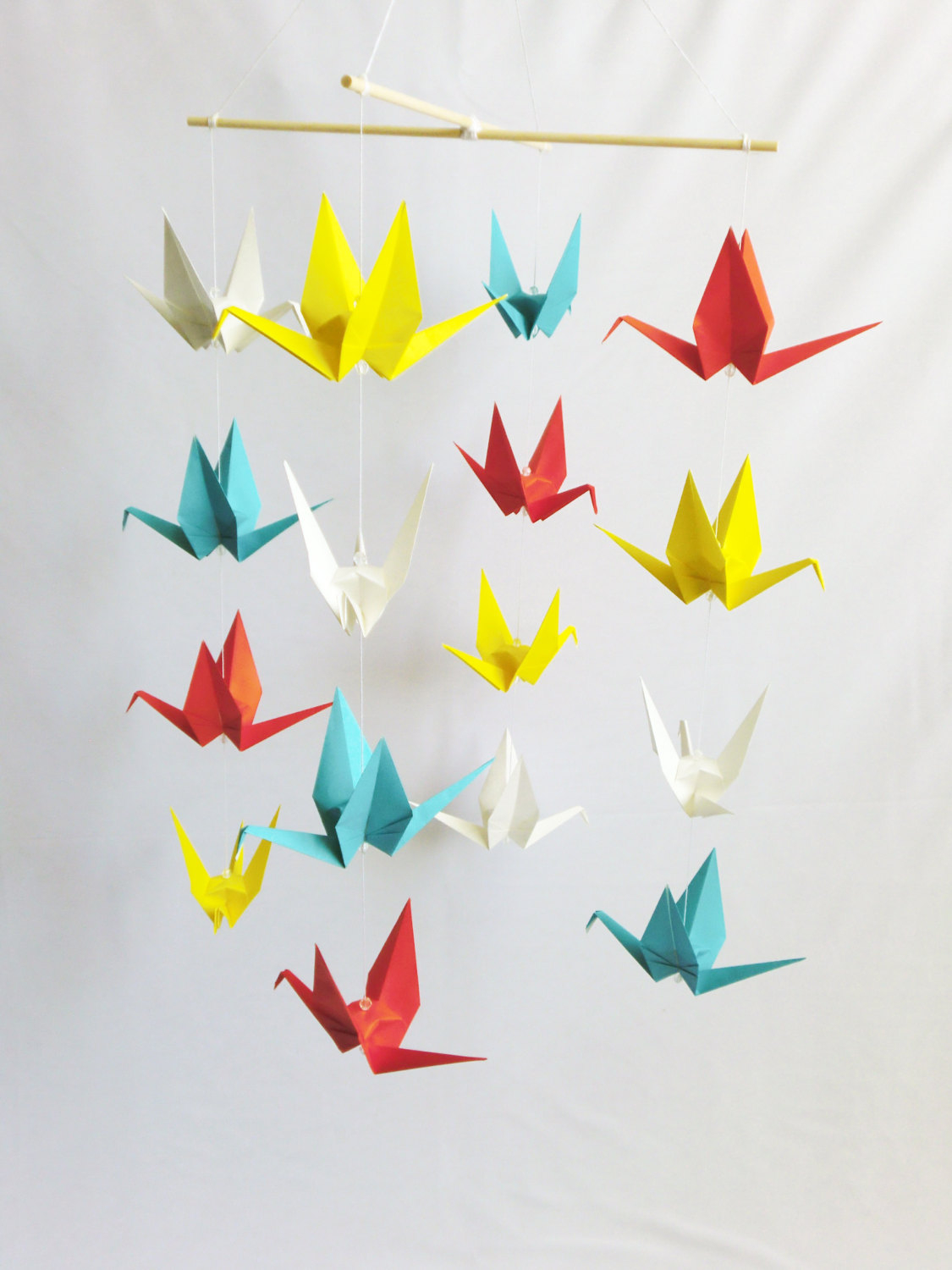 Origami Decoration Bedroom Ready To Ship Origami Crane Hanging Mobile Primary Colors Home