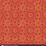 Origami Paper Pattern Seamless Oriental Ancient Geometric Flowers Pattern On Lucky Red