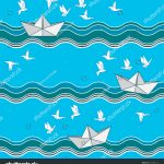 Origami Paper Pattern Seamless Pattern Origami Paper Boats Seagull Stock Vector Royalty