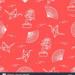 Origami Paper Pattern Seamless Pattern With Bonsai Trees Origami Paper Cranes Fans