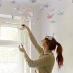 Origami Projects Decoration Diy Renters Friendly Origami Ceiling Decoration
