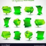 Origami Tutorial Geometric Geometrical Origami Template Set Royalty Free Vector Image