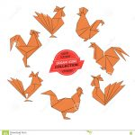 Origami Tutorial Geometric Origami Roosters Collection Stock Vector Illustration Of