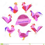 Origami Tutorial Geometric Origami Roosters Collection Stock Vector Illustration Of Concept