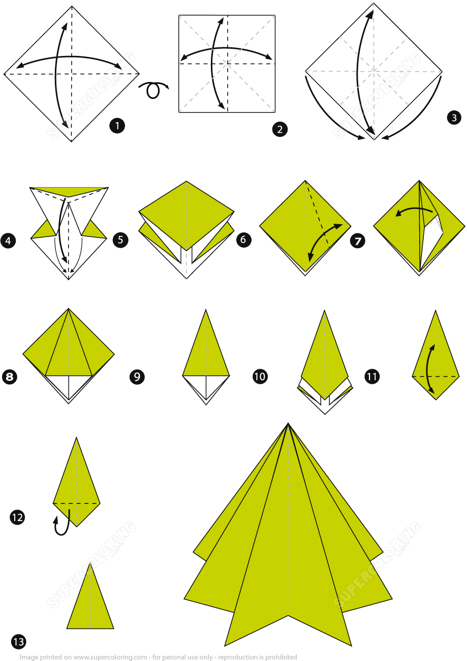 Paper Origami Step By Step Origami Step Step Instructions Of A Christmas Tree Free