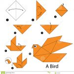 Paper Origami Step By Step Step Step Instructions How To Make Origami A Bird Stock Vector