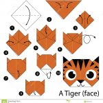Paper Origami Step By Step Step Step Instructions How To Make Origami A Tiger Face Stock