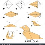 Paper Origami Step By Step Step Step Instructions How To Make Origami A Wild Duck Stock