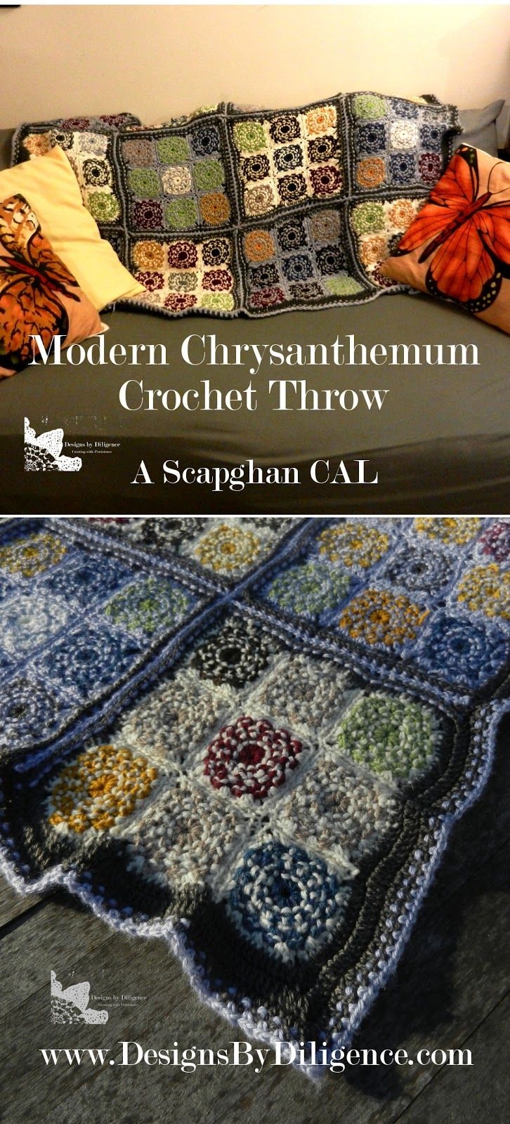 Scrapghan Crochet Free Pattern Scrap The Modern Chrysanthemum Throw Is A Free Crochet Pattern For A Throw