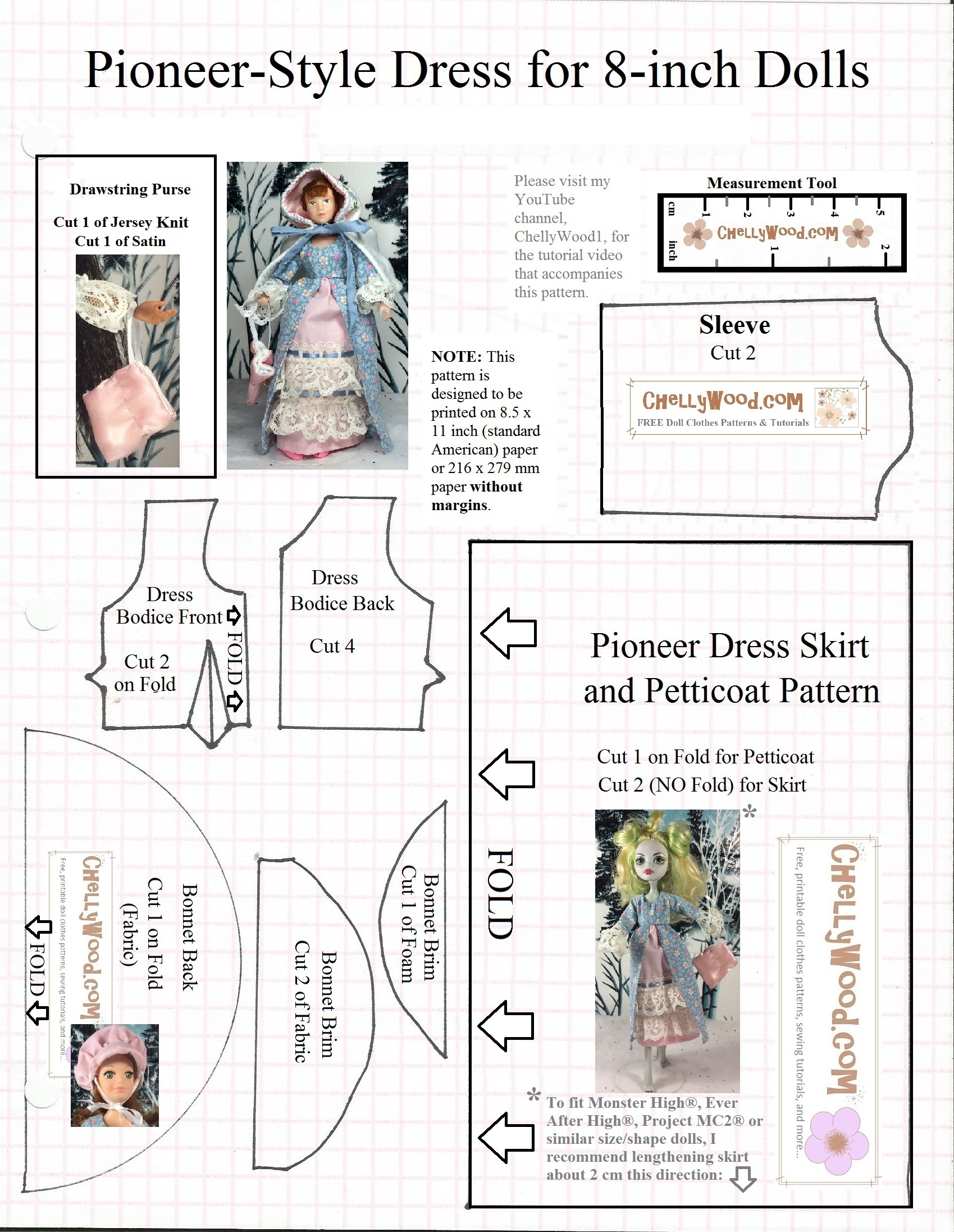 Sewing Printable Free Sign Sew A Pioneer Bonnet For 8 Dolls W This Free Printable Pattern