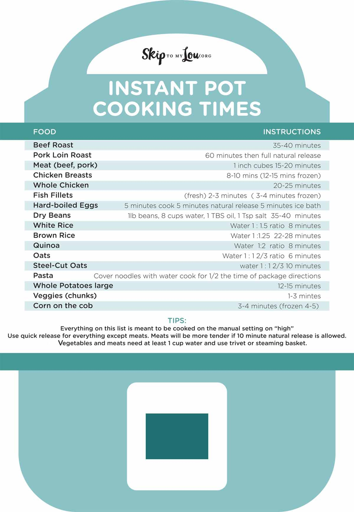 Sewing Printables Cheat Sheets Free Printable Instant Pot Cheat Sheet Skip To My Lou