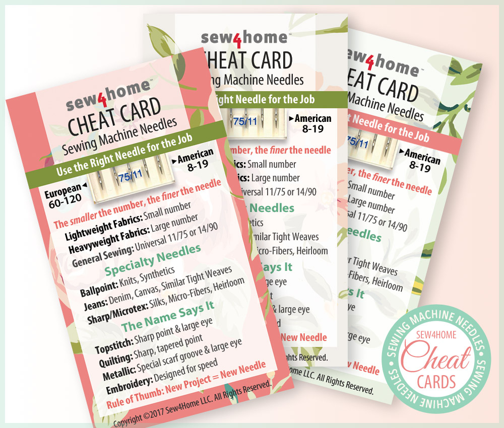 Sewing Printables Cheat Sheets Sewing Machine Needles Cheat Cards Sew4home