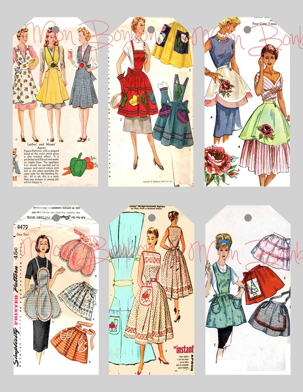 Sewing Printables Free Vintage Digital Collage Sheet Of Vintage Sewing Pattern Aprons Tags