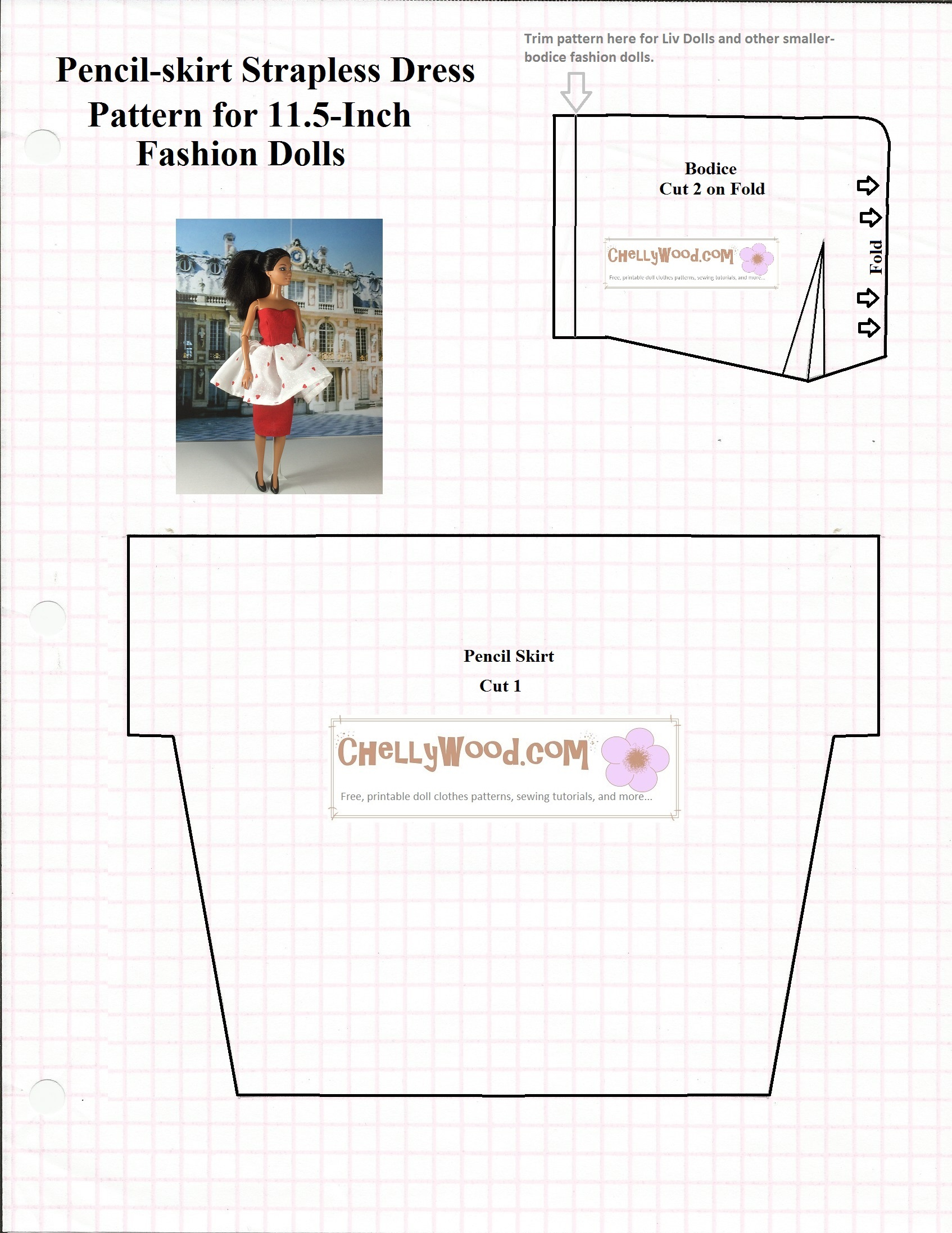 Sewing Printables Free Vintage Free Printable Sewing Pattern For Romantic Dolls Dress