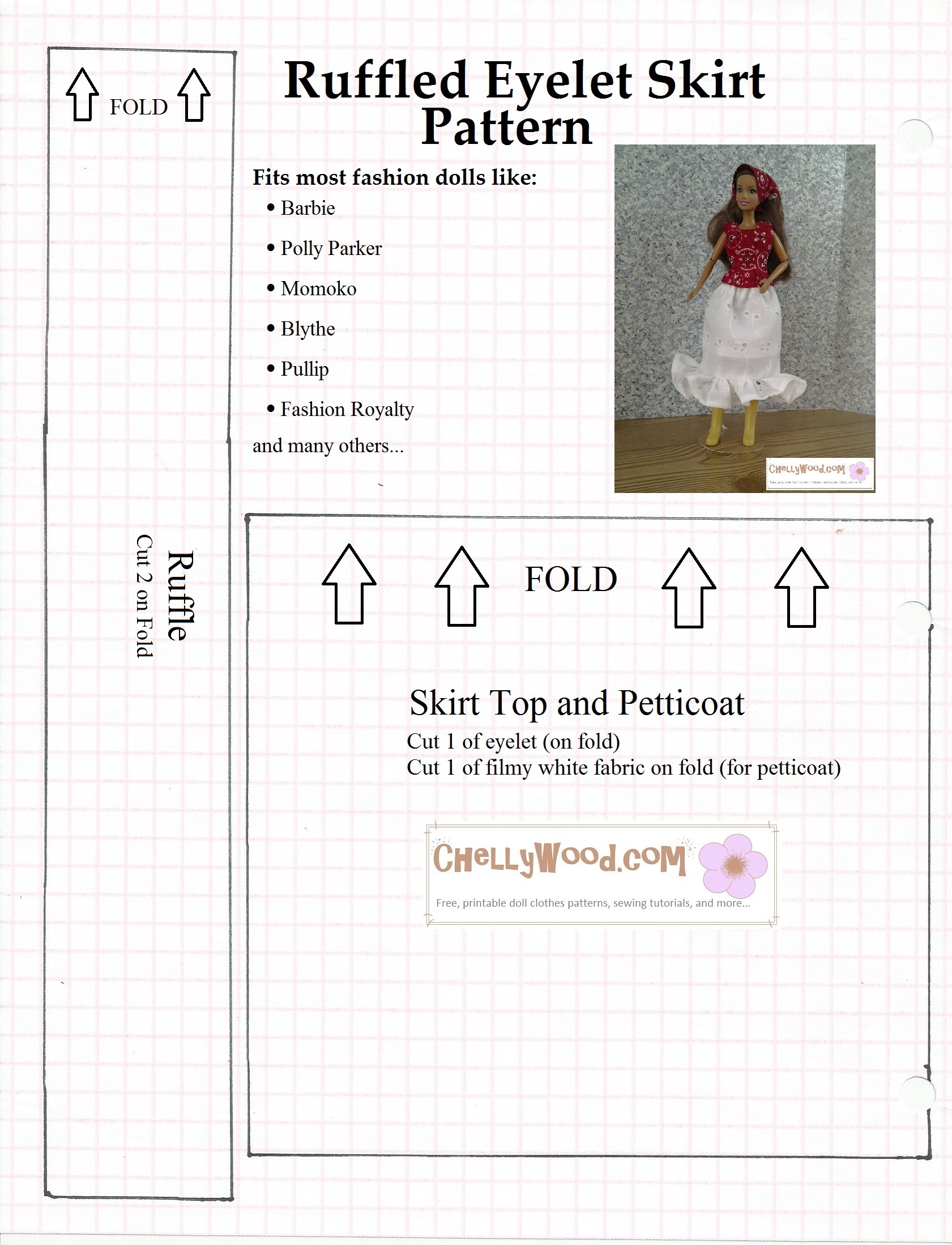 Sewing Printables Free Vintage Free Ruffled Eyelet Skirt Pattern For Dolls Chellywood