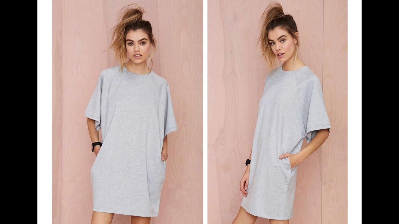 Sewing Tshirt Dress Diy How To Make At Shirt Dress Easy Sewing Youtube