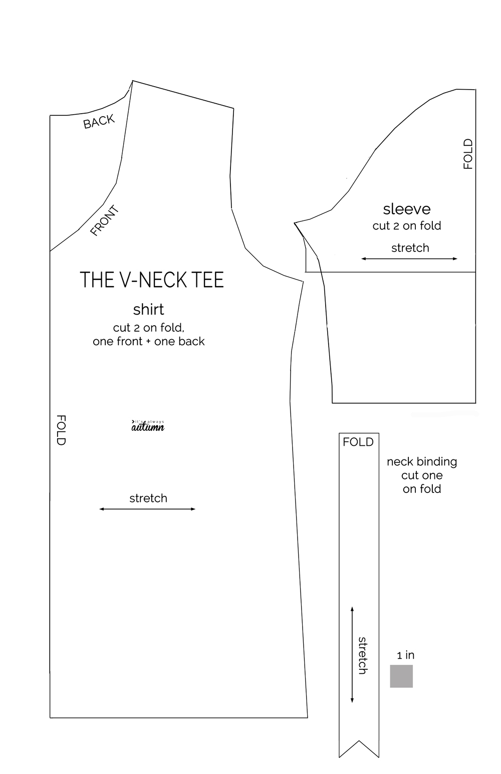 Sewing Tshirt Pattern How To Make A V Neck T Shirt Sewing Pattern And Tutorial Its