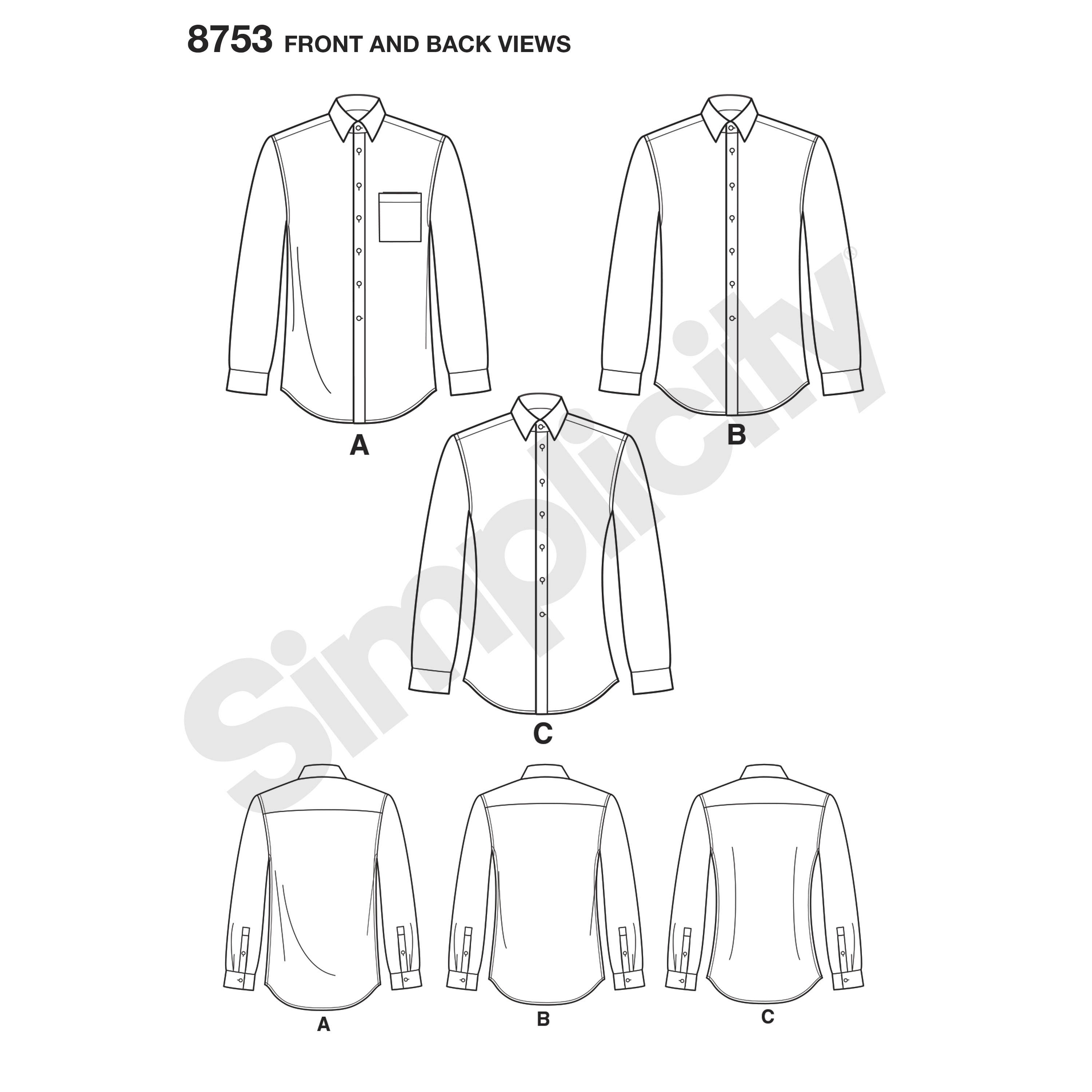 Sewing Tshirt Pattern Simplicity Sewing Pattern 8753 Mens Classic Modern And Slim Fit Shirt