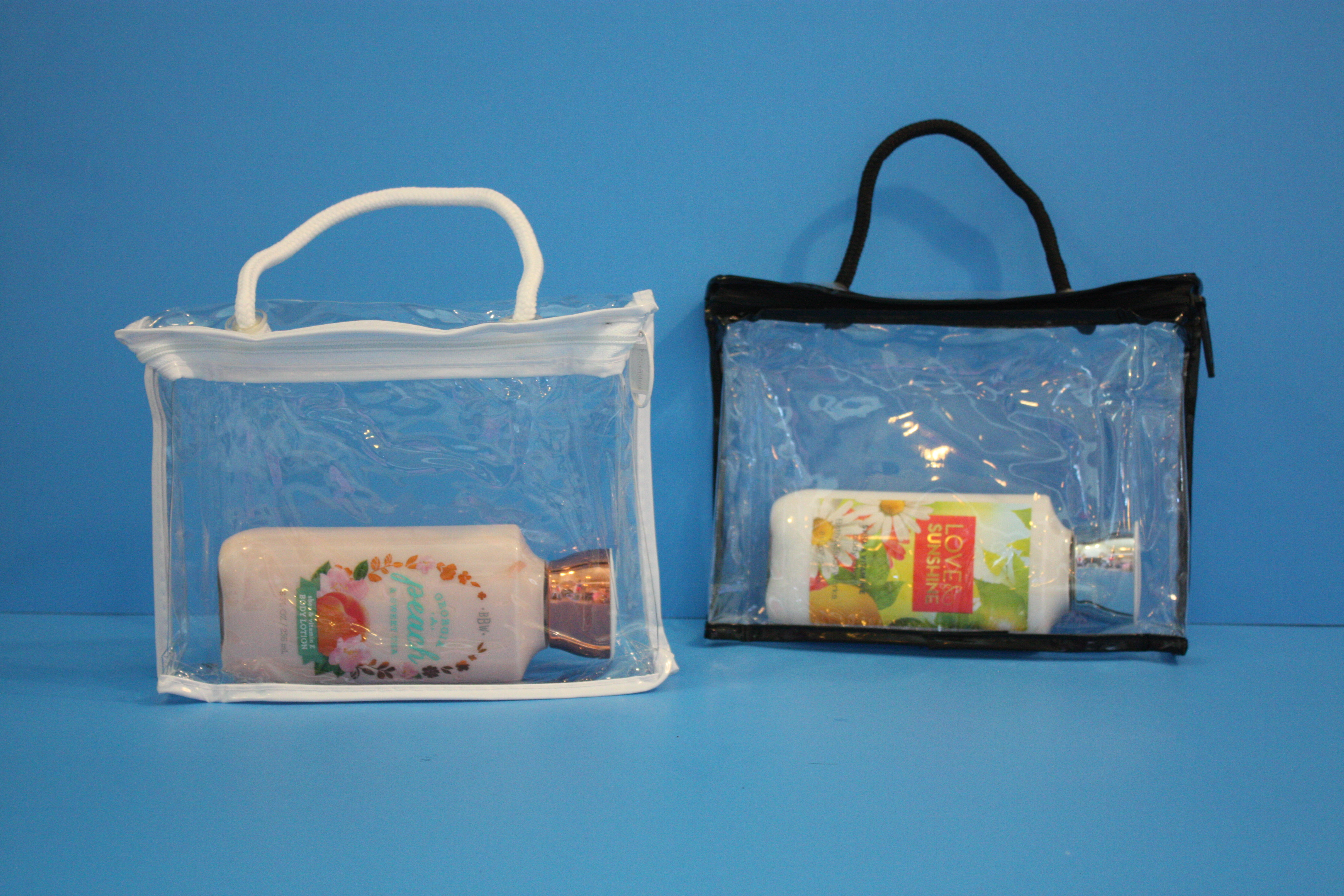 Sewing Vinyl Bags Zipper Pouch Vinyl Bags With Zipper Rople Handle Custom Vinyl Bags