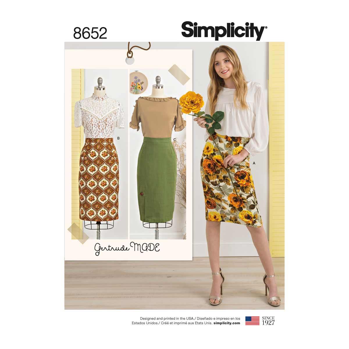 Simplicity Sewing Patterns Gertrude Made Womens Pencil Skirts Simplicity Sewing Pattern 8652
