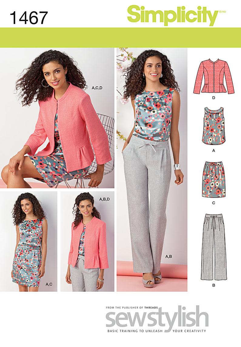 Simplicity Sewing Patterns Simplicity 1467 Misses Miss Petite Top Jacket Pants Skirt