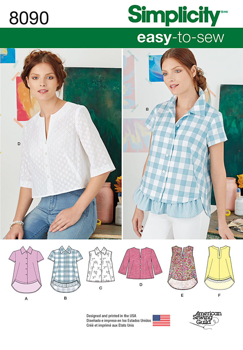 Simplicity Sewing Patterns Simplicity 8090 Misses Easy To Sew Button Shirt And Pullover Top