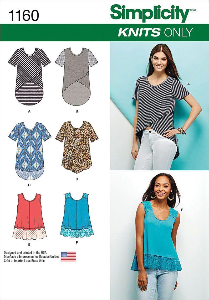 Simplicity Sewing Patterns Simplicity Pattern 1160a Xxs Xs S M Tops Vest Jkts Co Patterns
