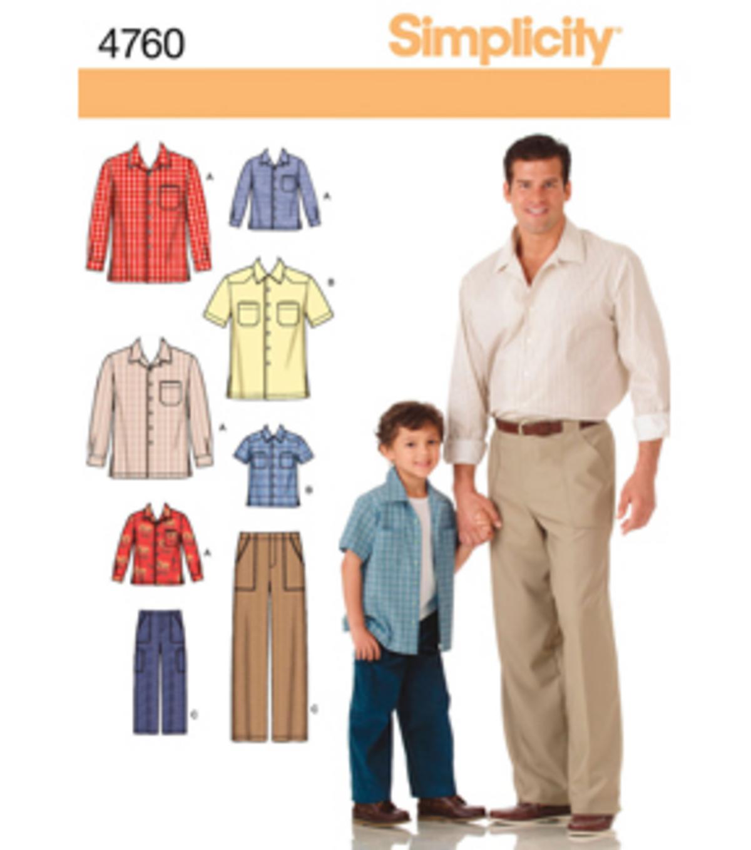 Simplicity Sewing Patterns Simplicity Pattern 4760 Boys Mens Pants Shirts S M Ls M L Xl