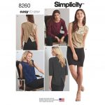 Simplicity Sewing Patterns Simplicity Sewing Pattern Easy To Sew Misses Top In 2 Lengths Size