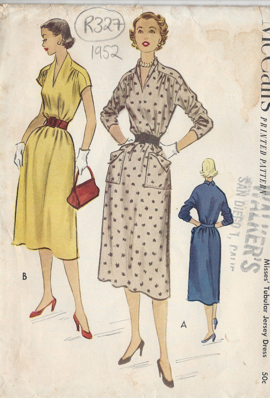 Vintage Sewing Patterns 1952 Vintage Sewing Pattern Dress B38 R327 The Vintage Pattern Shop