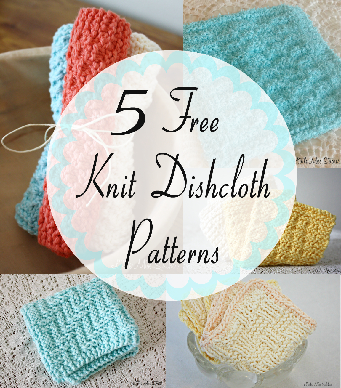 Washcloth Knitting Pattern Little Miss Stitcher 5 Free Knit Dishcloth Patterns