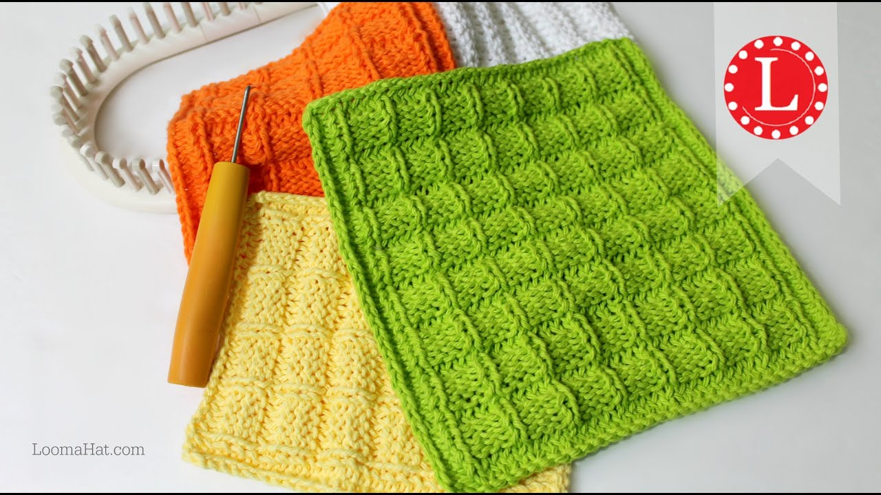 Washcloth Knitting Pattern Loom Knitting Dishcloth Washcloth Waffle Stitch Project Pattern